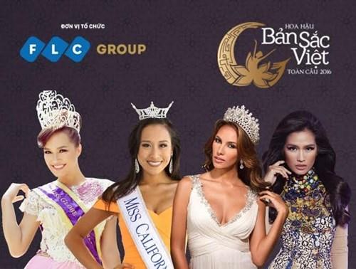 """Từ trái qua phải: Victoria Thúy Vi, Crystal Lee, Daniela Chalbaud và Janine Tugonon. Đây là4 khách mời tham gia buổi họp báo hoa hậu""""Hoa hậu bản sắc Việt toàn cầu"""""""