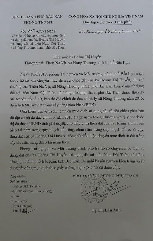 Công văn của phòng TN và MT trả lời bà Loan Anh
