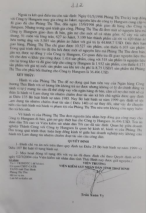 Quyết định đình chỉ vụ án hình sự của Viện KSND tỉnh Thái Bình