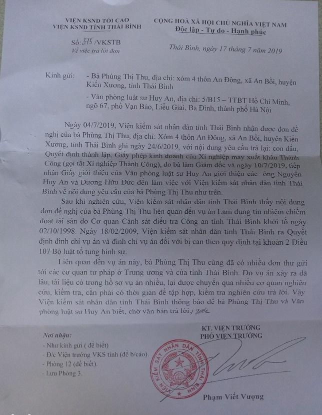 Công văn của Viện KSND tỉnh Thái Bình yêu cầu người dân