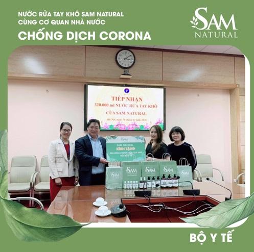 Sản phẩm dung dịch rủa tay của Sam Natural được bộ Y tế cấp giấy chứng nhận đảm bảo về chất lượng sản phẩm
