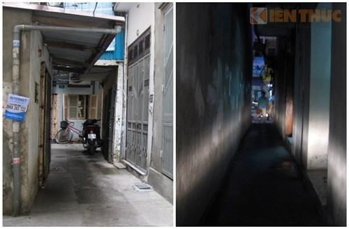 Ngõ 392 Bạch Mai - nơi có tin đồn rùng rợn về hồn ma về đòi nhà. Ngõ nhỏ, nhà cửa san sát và tấp nập.
