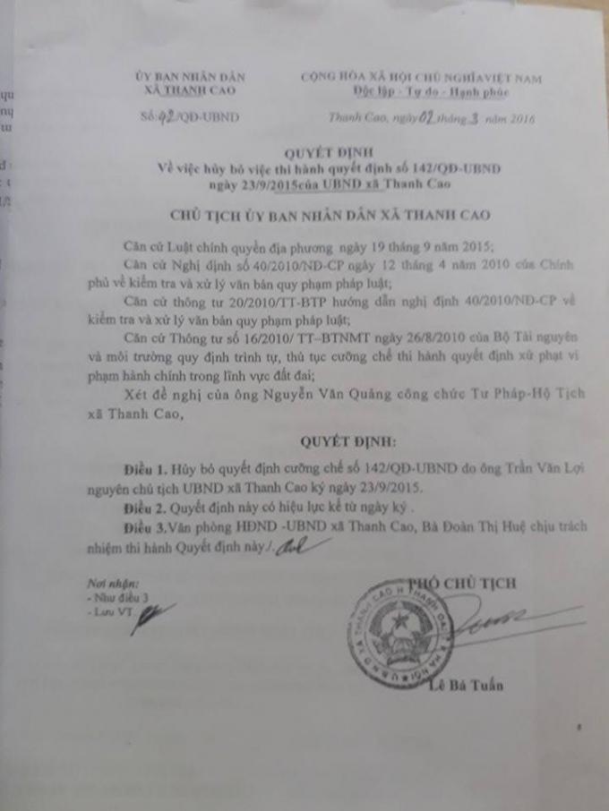 Quyết định của Phó chủ tịch UBND xã Thanh Cao hủy quyết định 142.