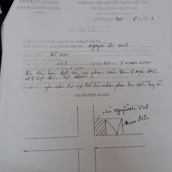 Phiếu đề xuất của Tổ Thanh tra xây dựng phường Ô Chợ Dừa.
