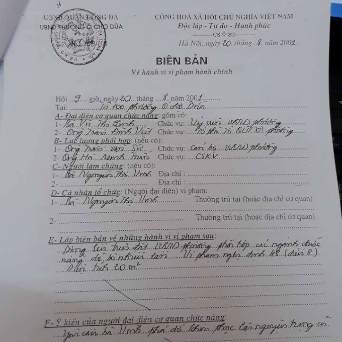 Biên bản do UBND Phường Ô Chợ Dừa lập.