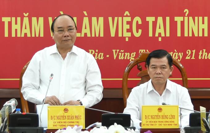 Thủ tướng Nguyễn Xuân Phúc làm việc với lãnh đạo chủ chốt tỉnh Bà Rịa Vũng Tàu.