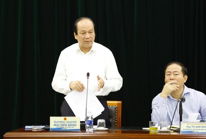 Bộ trưởng, Chủ nhiệm VPCP Mai Tiến Dũng- Tổ trưởng tổ công tác làm việc với VNR (ảnh Như Ý)