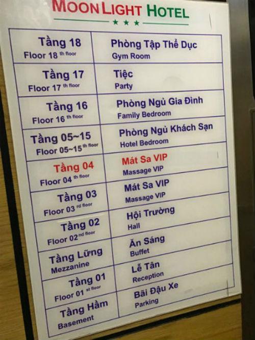 Theo chỉ dẫn của nhân viên, khu mát-xa trong Moolight nằm trên tầng 3 & 4.
