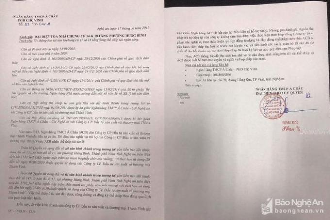Văn bản thông báo từ ngân hàng ACB gửi đến đại diện tòa nhà chung cư về việc sẽ xử lý toàn bộ tài sản thế chấp. Ảnh: PT