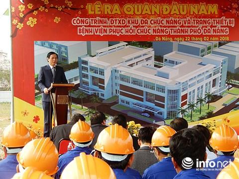 Phó Chủ tịch UBND TP Đà Nẵng Trần Văn Miên phát biểu tại lễ ra quân đầu năm mới Mậu Tuất 2018 ở dự án xây dựng Khu đa chức năng và trang thiết bị Bệnh viện Phục hồi chức năng Đà Nẵng