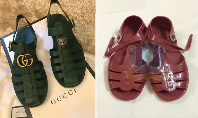 Hình ảnh thực tế từ mẫu sandal cao cấp đặt cạnh mẫu dép nhựa của Việt Nam.