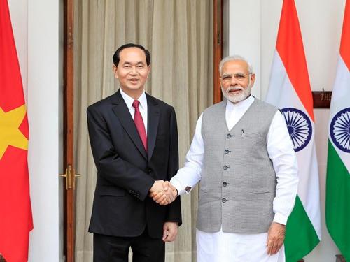 Chủ tịch nước Trần Đại Quang hội đàm với Thủ tướng Ấn Độ Narendra Modi.
