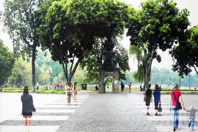 Đề xuất của UBND quận Hoàn Kiếm về lát đá lại toàn bộ Hồ Gươm.