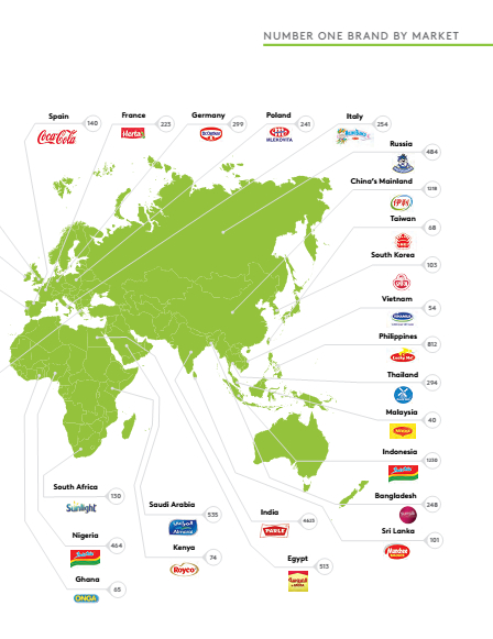 Bản đồ các Thương hiệu số 1 trên Thế giới.