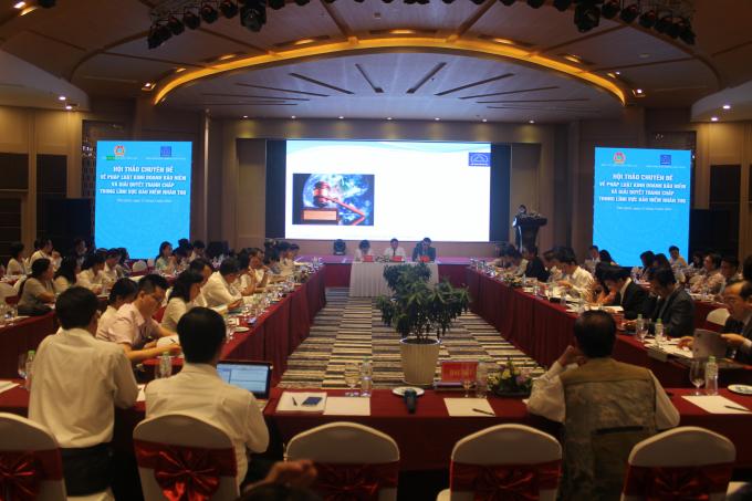 Hơn 100 đại biểu tham dự Hội thảo chuyên đề về Pháp luật kinh doanh bảo hiểm và giải quyết tranh chấp trong lĩnh vực bảo hiểm nhân thọ tại Phú Quốc. Ảnh: Minh Tâm