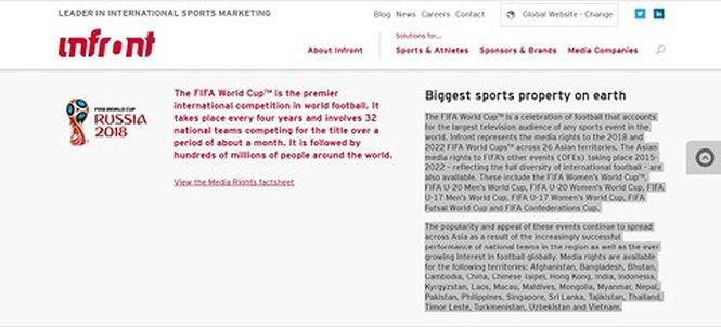 Trang web của Infront Sports & Media có nêu tên Việt Nam là một trong số các quốc gia và vùng lãnh thổ có bản quyền truyền hình cho World Cup 2018..