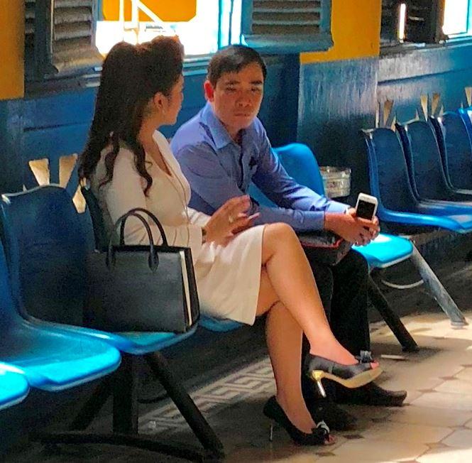 Bà Lê Hoàn Diệp Thảo tại tòa sáng nay 3/8.