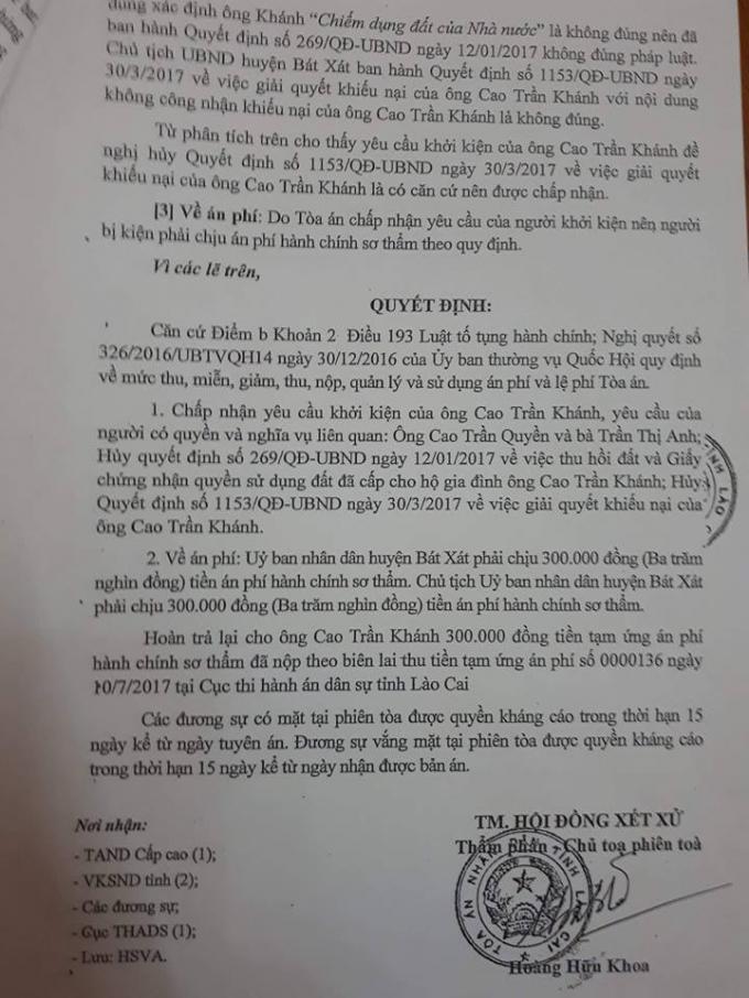 Quyết định của Tòa án nhân dân tỉnh Lào Cai.