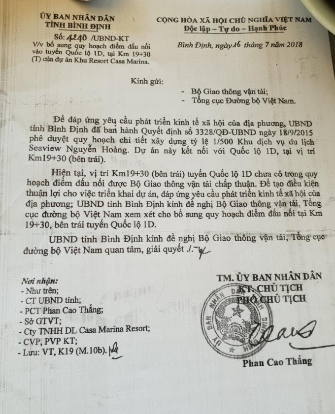 Một trong những văn bản của UBND tỉnh Bình Định về các thủ tục đấu nối ra QL1D,trái với phát ngôn