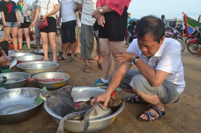"""Một du khách tỏ ra thích thú khi thấy một con cá mú san hô """"Khủng"""" tại cảng cá."""