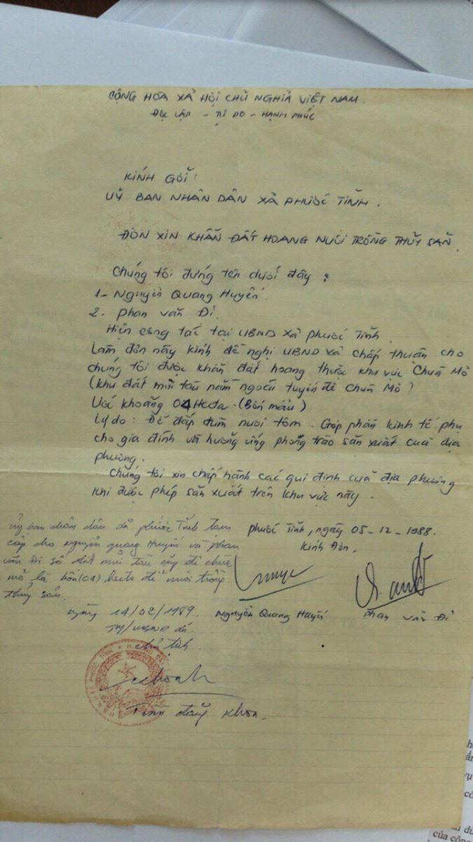 Một trong những giấy tờ liên quan đến nguồn gốc đất do UBND xã Phước Tĩnh xác nhận