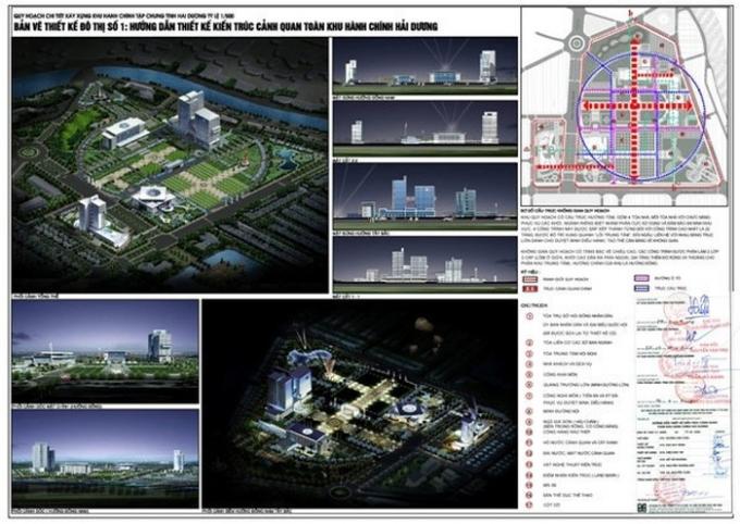 Quy hoạch thiết kế tổng quan toàn bộ Khu trung tâm hàng chính.