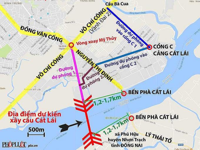 Vị trí dự kiến xây cầu Cát Lái và đường quanhkhu vực cảng Cát Lái. Đồ họa: HỒ TRANG