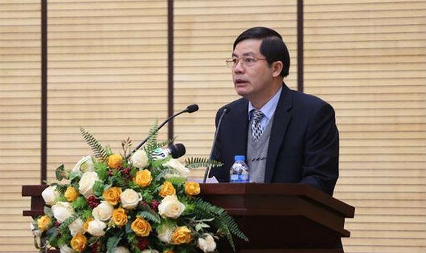Giám đốc Sở Nội vụ Hà Nội Trần Huy Sáng phát biểu tại hội nghị