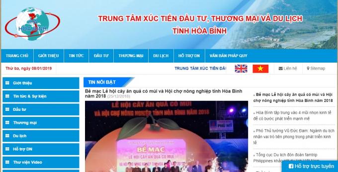 Website của Trung tâm Xúc tiến đầu tư thương mại và du lịch tỉnh Hòa Bình.