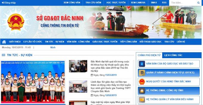Trên Webside của Sở Giáo dục và Đào tạo Bắc Ninh không hề có thông tin về vụ việc trên.