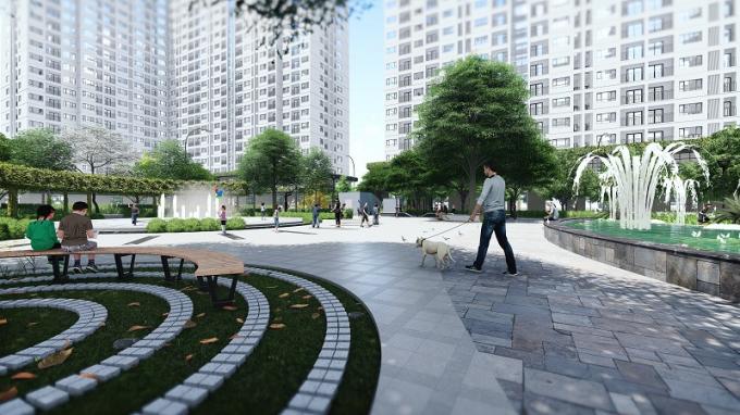 Cảnh quan sân sân vườn tòa NO2, NO3 dự án EcoHome 3