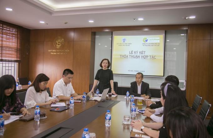 Bà Chu Nguyên Thành – Tổng giám đốc HANIF phát biểu tại Lễ ký kết