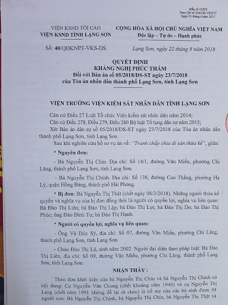 Văn bản của VKSND tỉnh Lạng Sơn.