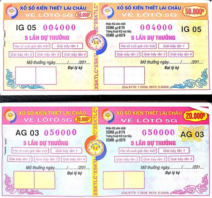 Vé Lô tô 5G của Công ty TNHH MTV Xổ số kiến thiết Lai Châu.