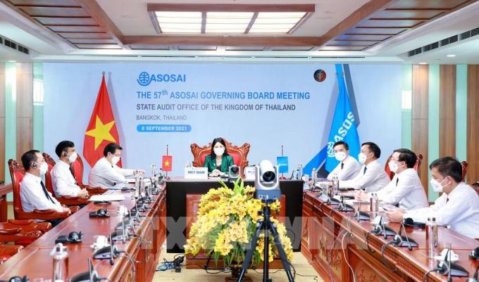 Đoàn đại biểu Kiểm toán Việt Nam dự Cuộc họp Ban điều hành Tổ chức các cơ quan Kiểm toán Tối cao châu Á lần thứ 58 tại ASOSAI 15. Ảnh: Phương Hoa - TTXVN