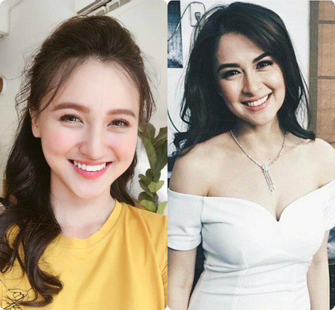 Bức ảnh của Mai Tây (trái) được mang ra so sánh với người đẹp Philippines.
