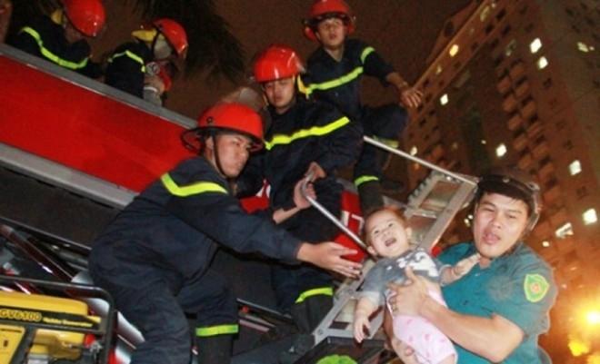 Lính cứu hỏa đưa trẻ em từ tòa nhà CT4A xuống mặt đất bằng xe thang - Ảnh: PetroTimes.