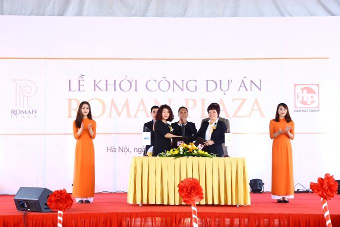 Lễ ký kết hợp đồng hợp tác tài trợ vốn cho dự án với Ngân hàng TMCP Quân đội.