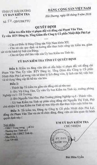 Uỷ ban kiểm tra Tỉnh uỷ Hải Dương có quyết định thành lập tổ kiểm tra đối với ông Phạm Văn Thư.