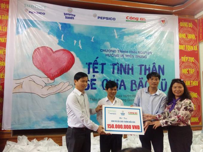 150.000.000 đồng là số tiền được dùng để sửa chữa trường mẫu giáo tại thôn Prao(Quảng Nam).