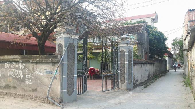 Ngôi nhà tại thôn Nghiêm Thôn, thị trấn Phố Mới, huyện Quế Võ là nơi ông Hoàng Văn Long và Hoàng Văn Vỹ đăng ký hộ khẩu thường trú. Ảnh: NBC