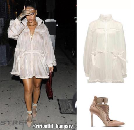 Xuất hiện tại một buổi tiệc, Rihanna cũng thể hiện khả năng thời trang của mình khi diện cả set đồ sành điệu của Fenty x Puma. Mẫu đầm sơ mi đơn giản nhưng mức giá lại lên đến 2.600 USD (khoảng 60 triệu đồng). Cô xứng đáng là một