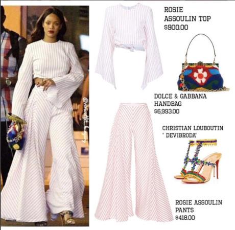 Cả set đồ Rihanna diện khi xuất hiện trên phố cũng lên đến hàng trăm triệu đồng. Được biết mẫu túi xách của Dolce & Gabbana có giá tới 7.000 USD (khoảng 162 triệu đồng).