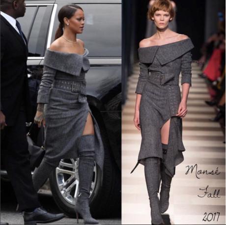 Chỉ diện một set đồ đơn giản của Monsé trong bộ sưu tập thu đông 2017 cũng là đủ để Rihanna thể hiện thần thái high-fashion của mình.