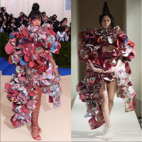 Rihanna là ngôi sao nổi bật nhất tại thảm đỏ của Met Gala năm nay. Với chủ đề về nghệ thuật trừu tượng trong thời trang, cô cũng thể hiện cách sáng tạo khi diện trang phục của Comme des Garcon. Những thiết kế nằm trong bộ sưu tập Haute Couture đều có giá đắt đỏ lên đến hàng tỷ đồng.