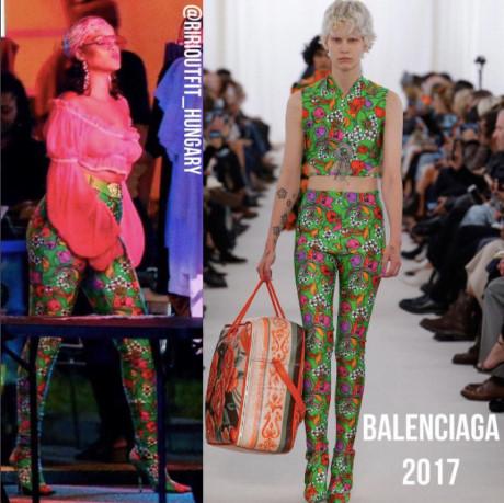 Dù diện trang phục đơn giản hay nổi bật thì thần thái vẫn là yếu tố quyết định sự thành công của Rihanna trong lĩnh vực thời trang. Bộ trang phục họa tiết của Balenciaga tương đối kén người mặc nhưng khi