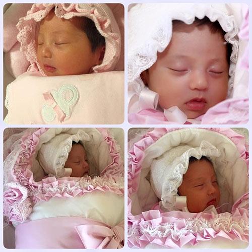 Gia đình cô cũng vừa chào đón thêm thành viên thứ 3, là một cô công chúa nhỏ xinh xắn. Ảnh: internet.