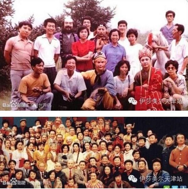 Ê kip làm phim Tây Du kí 1986 được chụp ở 2 thời điểm cách nhau 30 năm ( 1982 - 2012). Ảnh: internet.