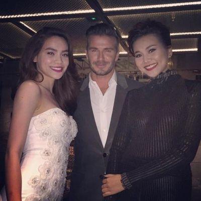Trước đó, Hồ Ngọc Hà và Thanh Hằng cũng đã tham dự một buổi tiệc có sự góp mặt của Beckham. Ảnh: internet.