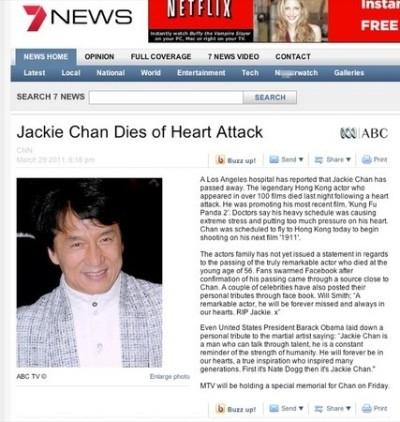 Thành Long bị đưa tin qua đời do tại nạn xe hơi ở Austraylia. Ảnh: Nam Đô.